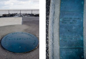 Two details from the Euroscope. On the left is the central marker; on the right, a nice reminder of what still lies ahead.