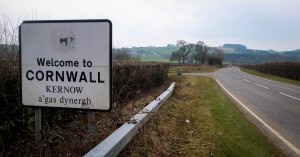 This decrepit sign on the A388 marks the entrance to Cornwall, the last county I will pass through on this walk ... From Caithness to Cornwall. March 16, 2015