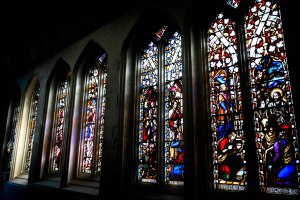 The stained glass windows in St Mary's Aisle, at Truro Cathedral. March 20, 2015